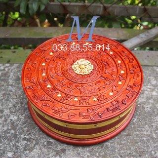 Hộp Khay bánh kẹo gỗ hương Trống Đồng 30cm 10cm thumbnail