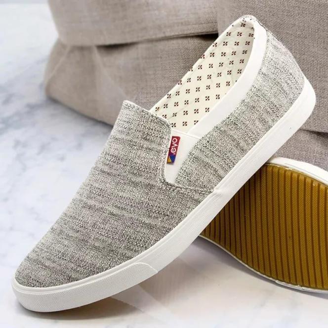 (GIÁ CỰC SỐC) Giày Lười Nam EVO Chất Vải (XÁM)Kẻ Thoáng Mái Dễ Phối Đồ giá rẻ