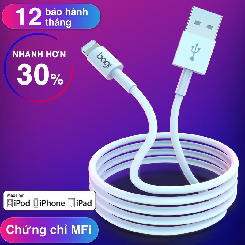 Dây sạc cho iPhone thương hiệu Bagi đạt chuẩn MFi của Apple Bảo hành 12 thàng - Made in Việt Nam - Màu trắng