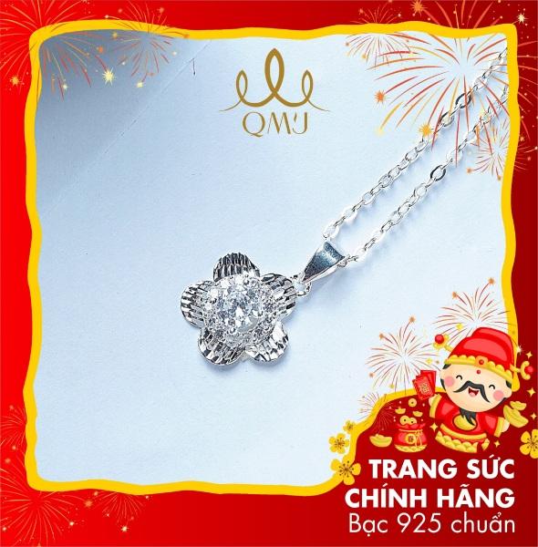 QMJ Dây chuyền hoa 5 cánh nạm đá kết hợp phay móc máy viền sáng, mnag vẻ đẹp cuốn hút cho người đeo, thiết kế tinh sảo đến từng chi tiết tạo vẻ đẹp tuyệt mĩ, vòng cổ thời trang nữ đẹp - Q030