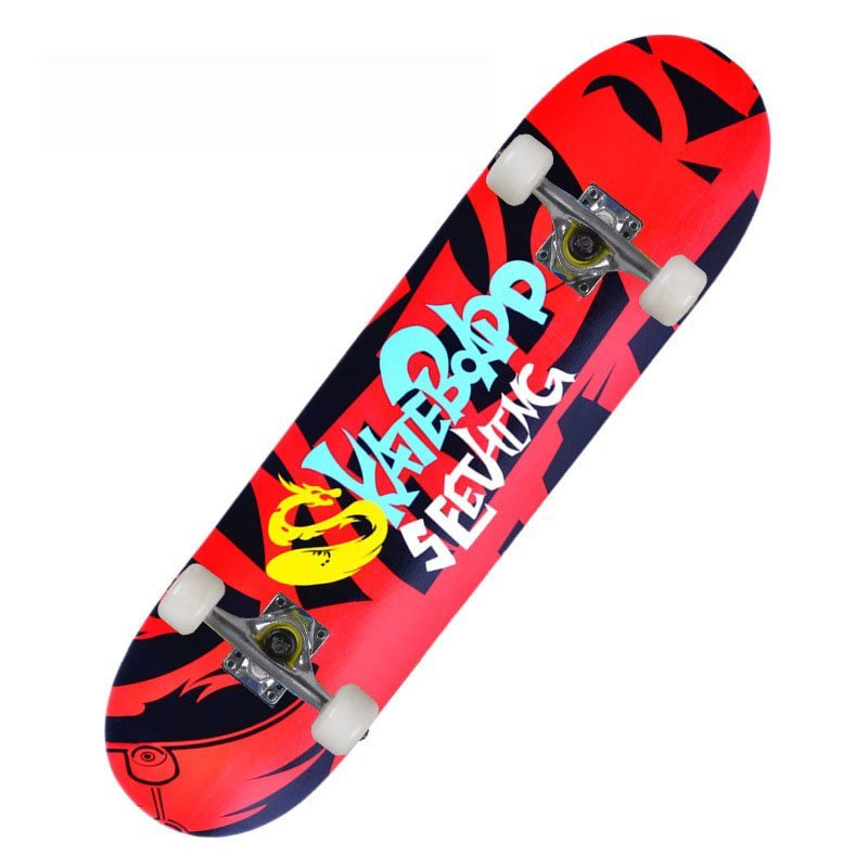 Ván Trượt Skateboard Chuyên Nghiệp, Ván Trượt Cỡ Lớn Đạt Chuẩn Thi Đấu Bánh Cao Su, Mặt Nhám Chống Trơn Trượt, Ván Gỗ Dày Khung Hợp Kim Chắc Chắn (80cm x 20cm)