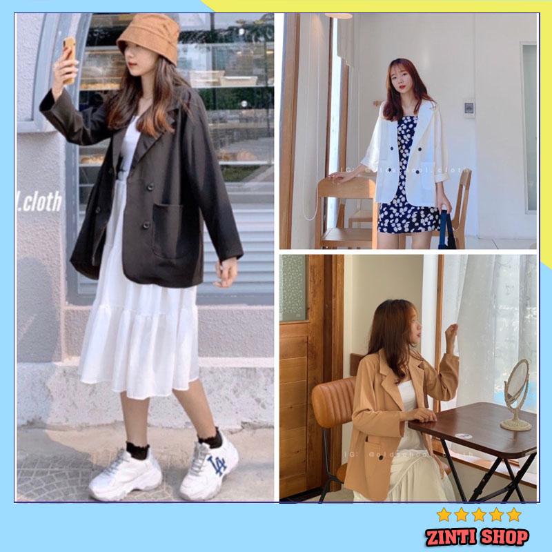 Áo Blazer nữ phong cách hàn quốc, áo vest tay dài trơn cho nữ