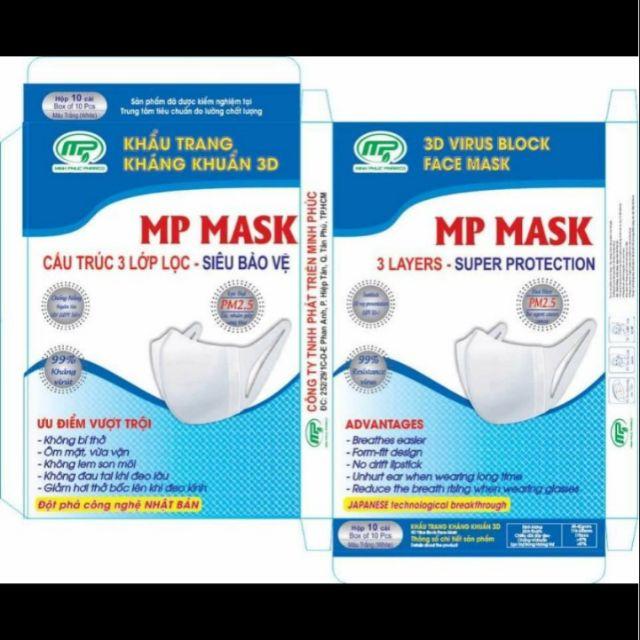 Khẩu trang kháng khuẩn 3D MP MASK (hộp 10 cái), Khẩu trang lọc bụi, kháng khuẩn hiệu quả, bảo vệ sức khỏe của bạn trong mùa dịch