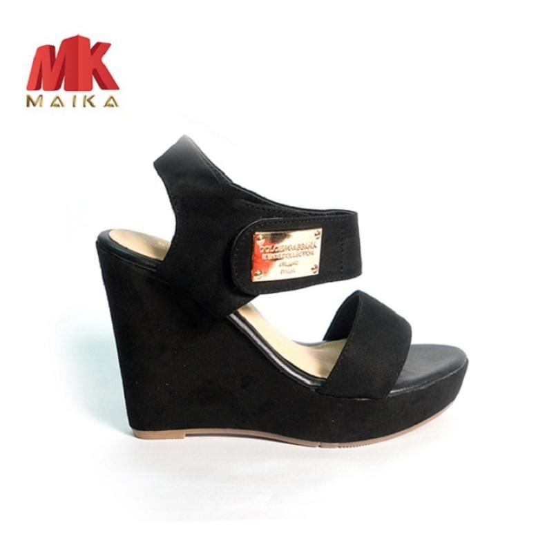 Giày đế xuồng nữ quai ngang cao 10 phân S1074 (ĐEN) đơn giản, dễ đi - mk store giá rẻ