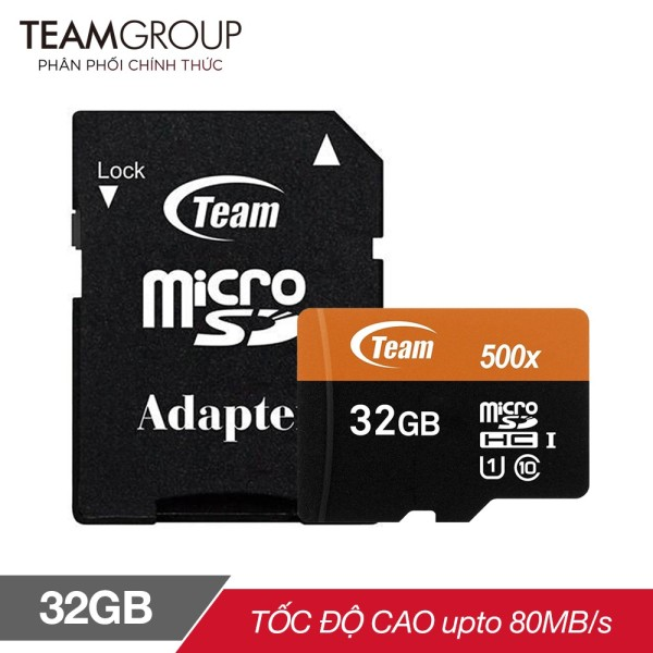 THẺ NHỚ MICROSDHC TEAM 32GB 500X UPTO 80MB-S CLASS 10 U1 KÈM ADAPTER