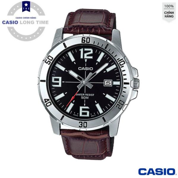 Đồng hồ nam dây da Casio MTP-VD01L-1BVUDF Mặt đen , kim trắng , Có lịch ngày - Tuổi Thọ Pin 3 Năm- Chống Nước , đồng hồ nam , đồng hồ kim , đồng hồ nữ , đồng hồ chống nước