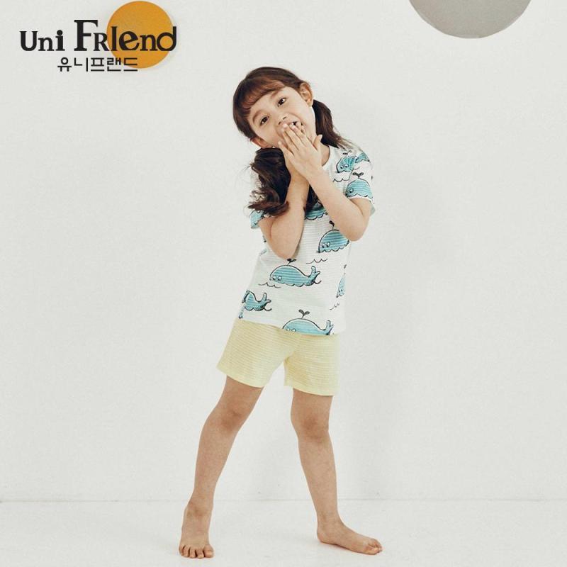 Nơi bán Đồ bộ mặc nhà bé gái Unifriend thun lửng hoạ tiết cá voi U9SSTS08
