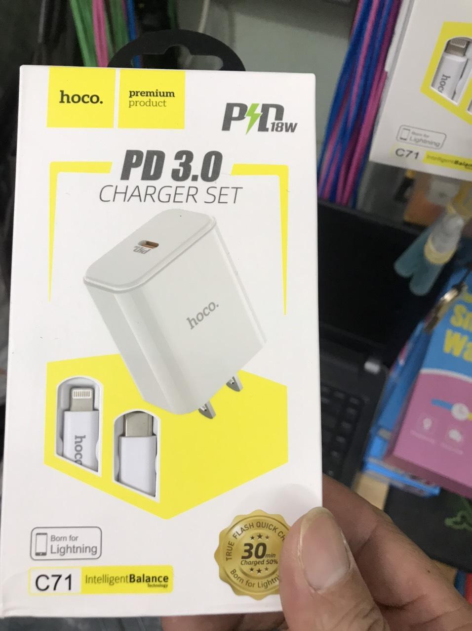 Bộ Sạc Nhanh PD Cho iPhone 5-6-7-8-X-XS Max Hoco C71 Kèm Cáp Sạc Lightning