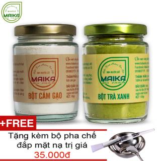 Combo Bô t Trà Xanh + Bột Cám Gạo - Nguyên Châ t MK Farm (100g hũ) + Tặng Bộ Đắp Mặt thumbnail