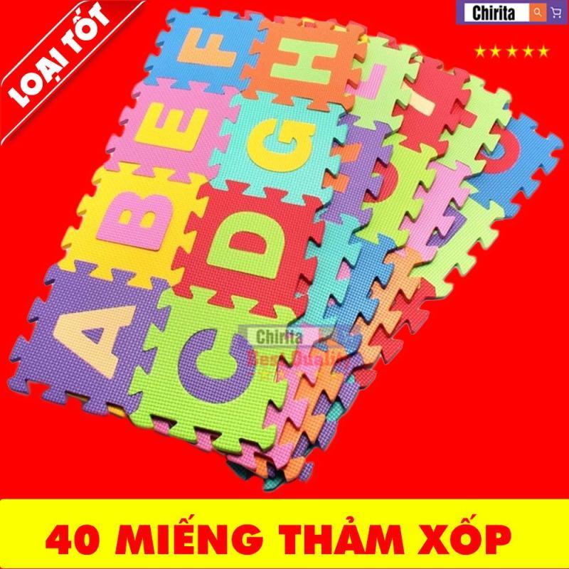 Bộ 40 Tấm thảm xốp trải sàn Ghép Hình Cho Bé -  Thảm Nằm Chơi Cho Bé Học Tập miếng chữ cái + số + phép tính Siêu ĐẸP