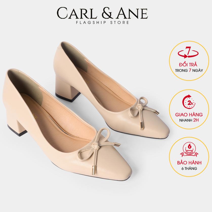 Carl & Ane - Giày cao gót thời trang nữ mũi vuông phối nơ cực xinh kiểu dáng công sở cao 5cm CP006 (NU) giá rẻ