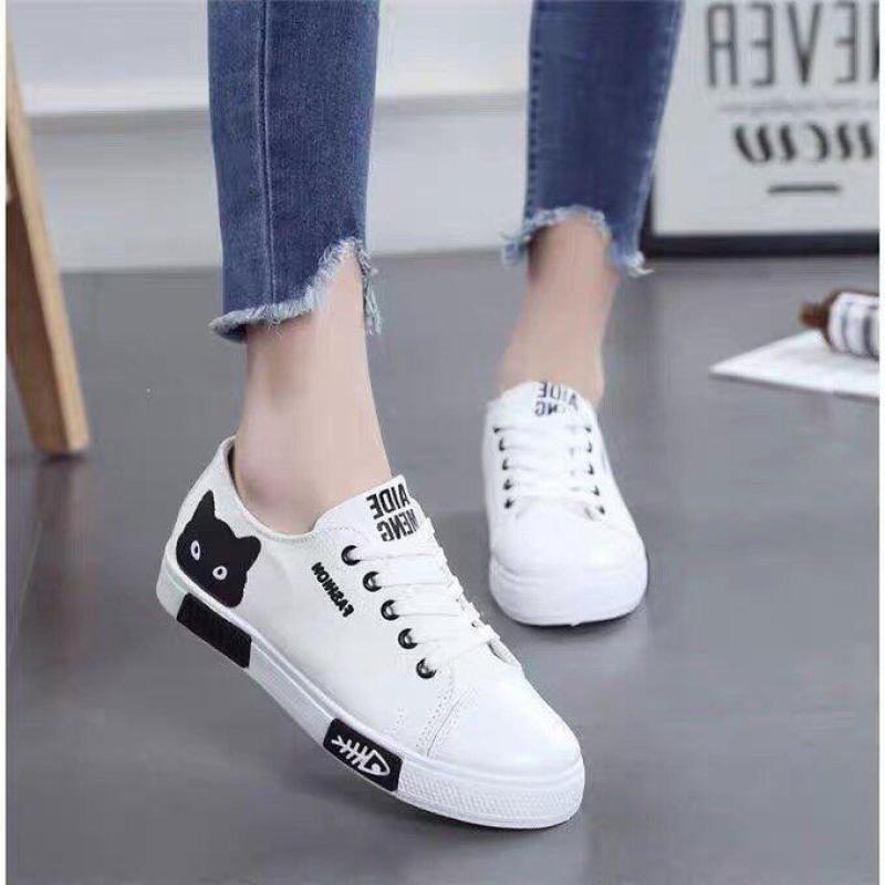 Giày sneaker nữ vải in họa tiết mắt mèo Bi Shop