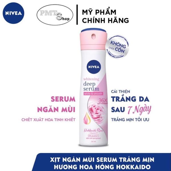 Xịt Ngăn Mùi Nivea Whitening Deep Serum Hokkaido Rose Spray 150ml Dưỡng Sáng Da Hương Hoa Hồng cao cấp