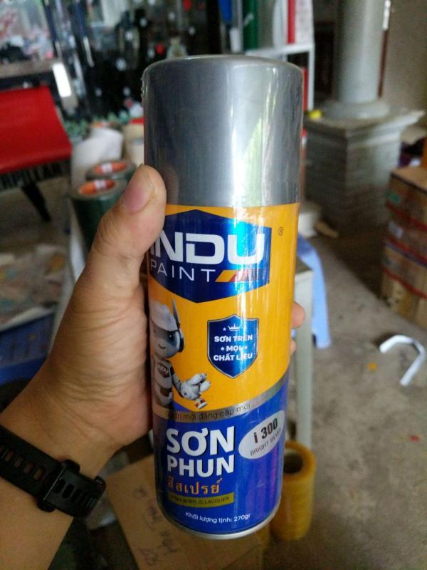 Sơn phun iNDU i300 400ml màu nhũ bạc (bright silver).