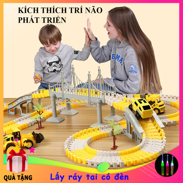 Đồ chơi trẻ em, Đồ chơi lắp ráp đường ray Ô tô và Tàu hoả gồm nhiều chi tiết hỗ trợ phát triển trí tuệ cho bé