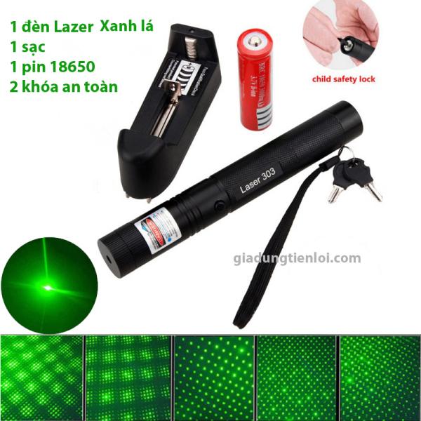 Bảng giá Combo đèn chiếu tia laser 303 (đèn + sạc + pin 4800mAh) - bút lazer tia sáng xanh-đỏ-tím