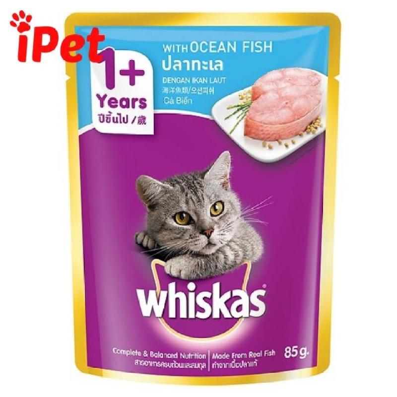 Thức Ăn Pate Whiskas Vị Cá Biển Hải Sản Cho Mèo Lớn 85g - iPet Shop