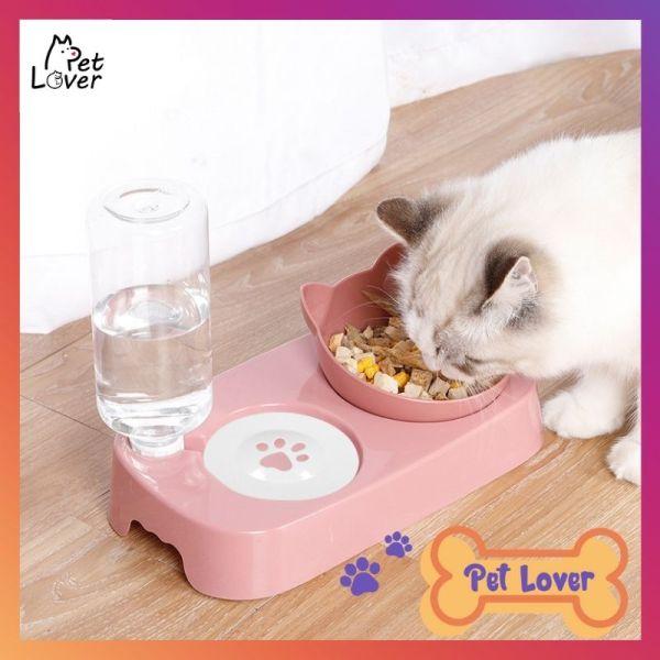 Bát ăn cho mèo, bát ăn cho chó mèo, siêu đẹp và tiện dụng, dễ dàng vệ sinh sạch sẽ (mèo trắng+mèo màu), phù hợp với các bạn dưới 7kg, cat bowl, dog bowl - Petlover