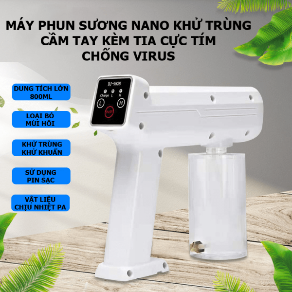 Máy phun sương NANO khử trùng cầm tay kèm tia cực tím chống virus - QC