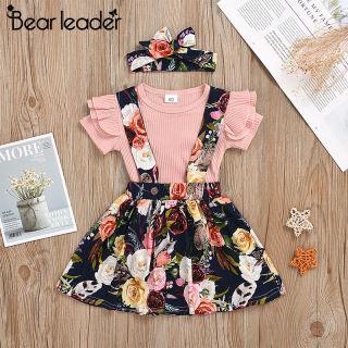 bộ trang phục Bear Leader áo thun tay ngắn và đầm yếm họa tiết hoa văn giản dị cho trẻ sơ sinh - INTL