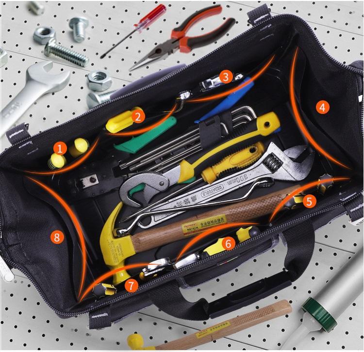 Túi đựng đồ nghề đế nhựa chịu lực Cỡ Vừa 18inch: 40x21x28(cm); Giỏ xách đồ nghề đế nhựa, Giỏ đựng đồ nghề đế nhựa; Túi xách dụng cụ; Giỏ đựng dụng cụ điện lạnh