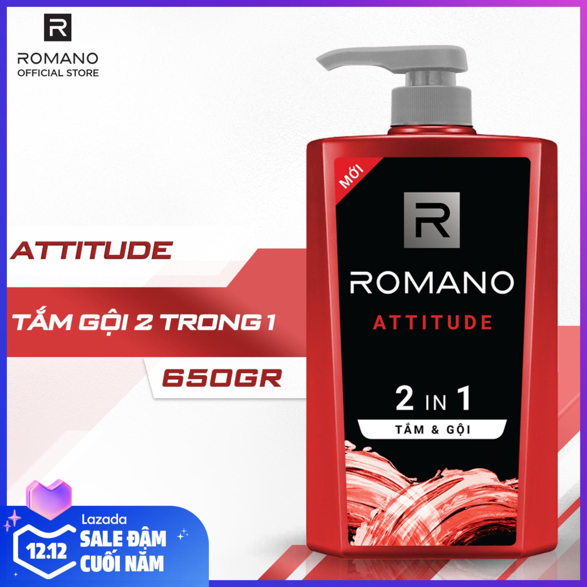 Offer Khuyến Mại Tắm Gội 2 Trong 1 Romano Attitude 650g