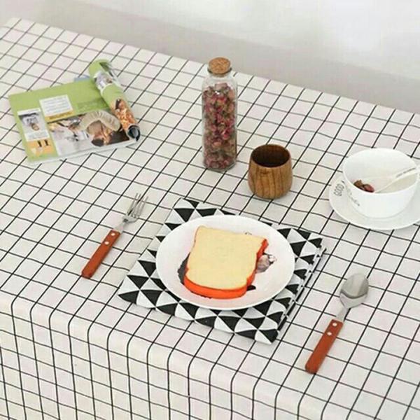Khăn trải bàn decor PVC không thấm kẻ caro nước lót bàn ăn bàn học cute trang trí chống thấm