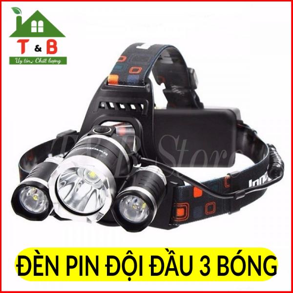 Bảng giá Đèn Pin Đội Đầu Siêu Sáng - Đèn Pin Led Siêu Sáng Đội Đầu 3 Bóng Tặng Kèm Pin Và Sạc