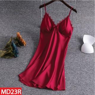 Đầm Ngủ, Váy Ngủ 2 Dây, Đồ Ngủ Mặc Nhà HISEXY Lụa Satin Phối Ren Kèm Mút Ngực MD23 thumbnail