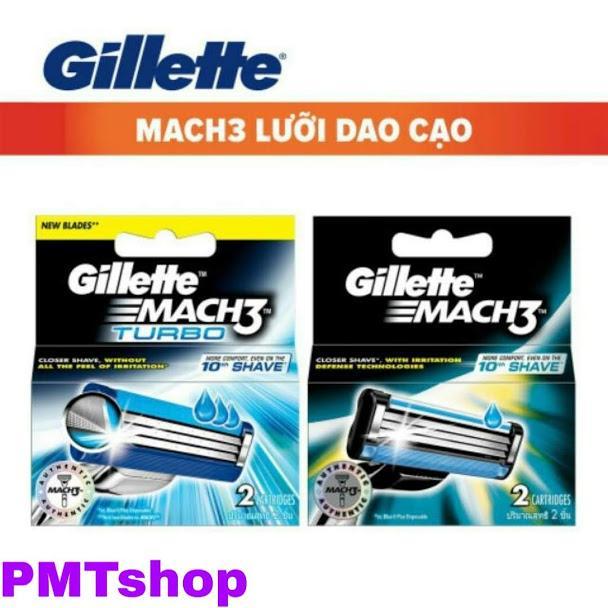 Hộp Lưỡi Dao Cạo Râu Gillette Mach3 vỉ 2 cái - Mach 3 Turbo, Sensitive, Classic cao cấp