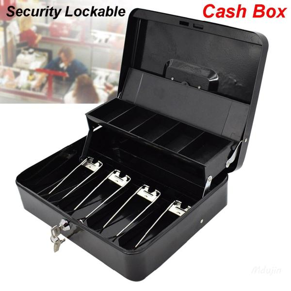 Bảo mật di động Có thể khóa Hộp tiền mặt Khay xếp ngăn kéo Tiền lưu trữ an toàn Đen 【Shop Vouchers】