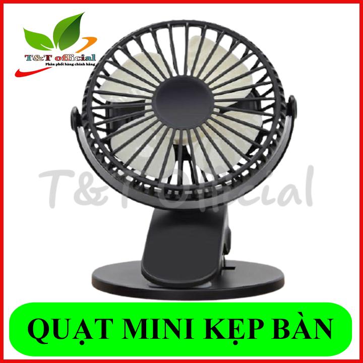 Quạt sạc mini xoay góc 720 độ, đế kẹp đa năng hoặc đặt bàn, an toàn cho trẻ với 4 nấc điều chỉnh gió