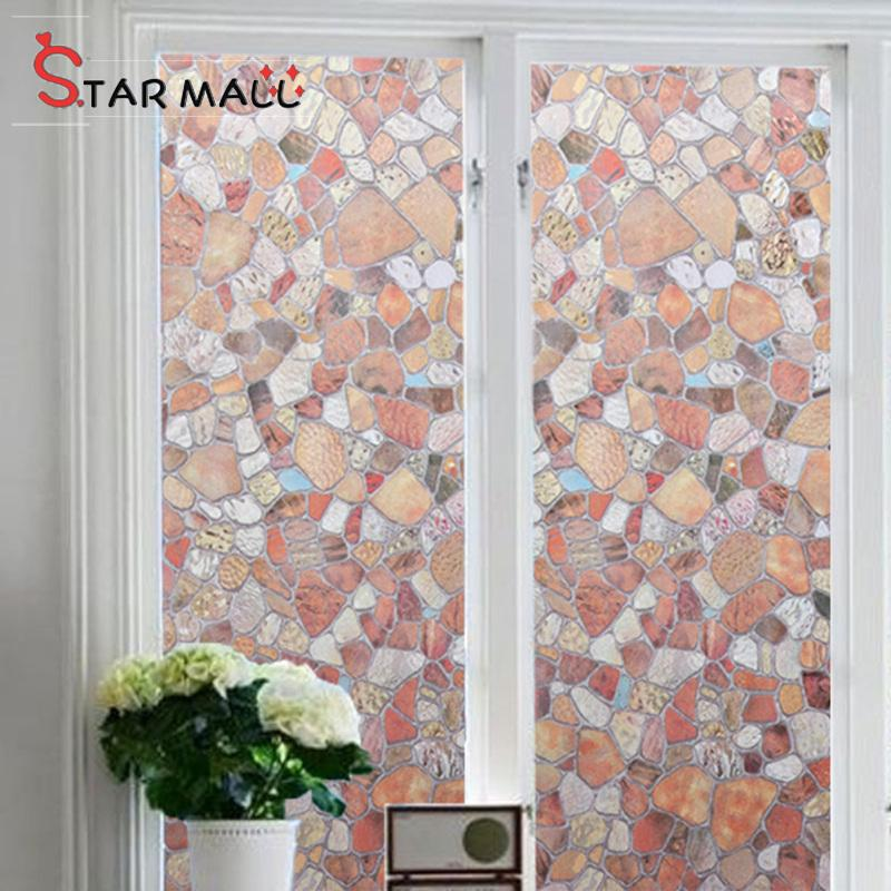 Star Mall Decorative Glue Free Riverstones Pattern Privacy Protective Static Window Film For Home Office