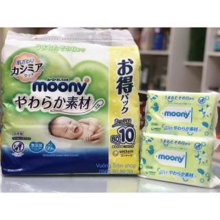 (Date T9 2023) Combo 10 Bịch Giấy Ướt Moony Nội Địa Nhật Bản 80 Tờ thumbnail