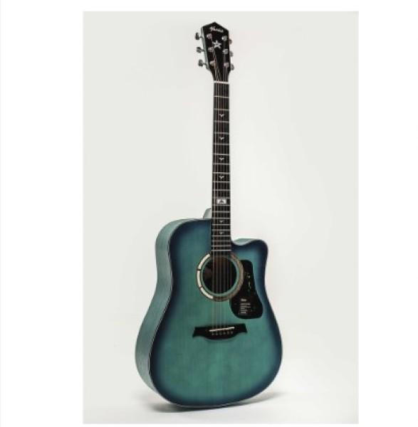 [Tặng Kèm Full Phụ Kiện] Đàn Guitar Acosutic Mantic GT-1DCGR Xanh Viền Đen , tặng kèm bao đàn, capo, pick, lục chỉnh cần