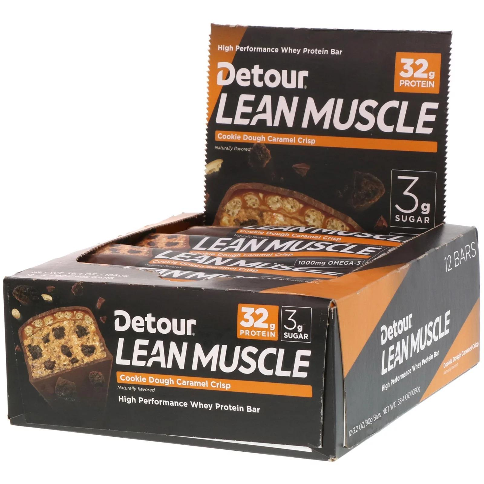 Protein Bar Detour Lean Muscle 12 bars x 90g : 32g Protein, 21 Vitamin,1000mg Omega-3