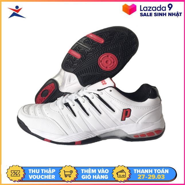 Giày tennis nam Prince êm ái, thoáng khí, dành cho nam, màu trắng viền đỏ, đủ size - Giầy tennis nam - Giày thể thao tennis - sportmaster giá rẻ