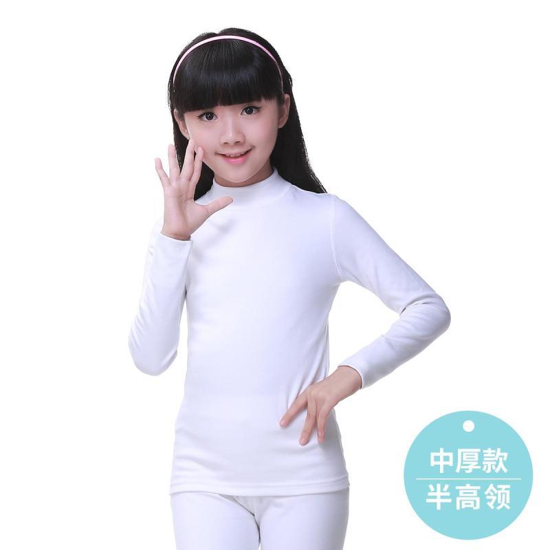 Nơi bán Cô Gái Phù Hợp Với Bộ Đồ Lót Màu Trắng Áo Phông Mặc Bên Trong Cậu Bé Học Sinh Tiểu Học Trẻ Em Cổ Tròn Cổ Lửng Ấm Quần Áo Thu