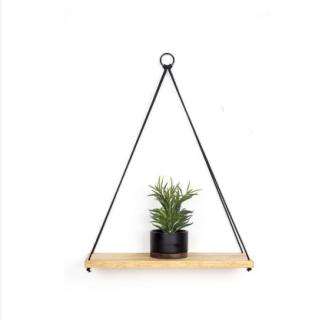 Kệ treo tường gỗ có dây treo sáng tạo cho trang trí nhà 40cmx10cmx2cm thumbnail