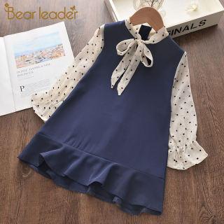 ĐẦM MÙA HÈ Bear Leader Cho Bé Gái Đầm Công Chúa Tay Dài Chấm Bi Vải Voan Gió Kiểu Dáng Thời Trang Dễ Thương Cho Trẻ Em 2-6Y Đầm Dự Tiệc Cho Bé Gái