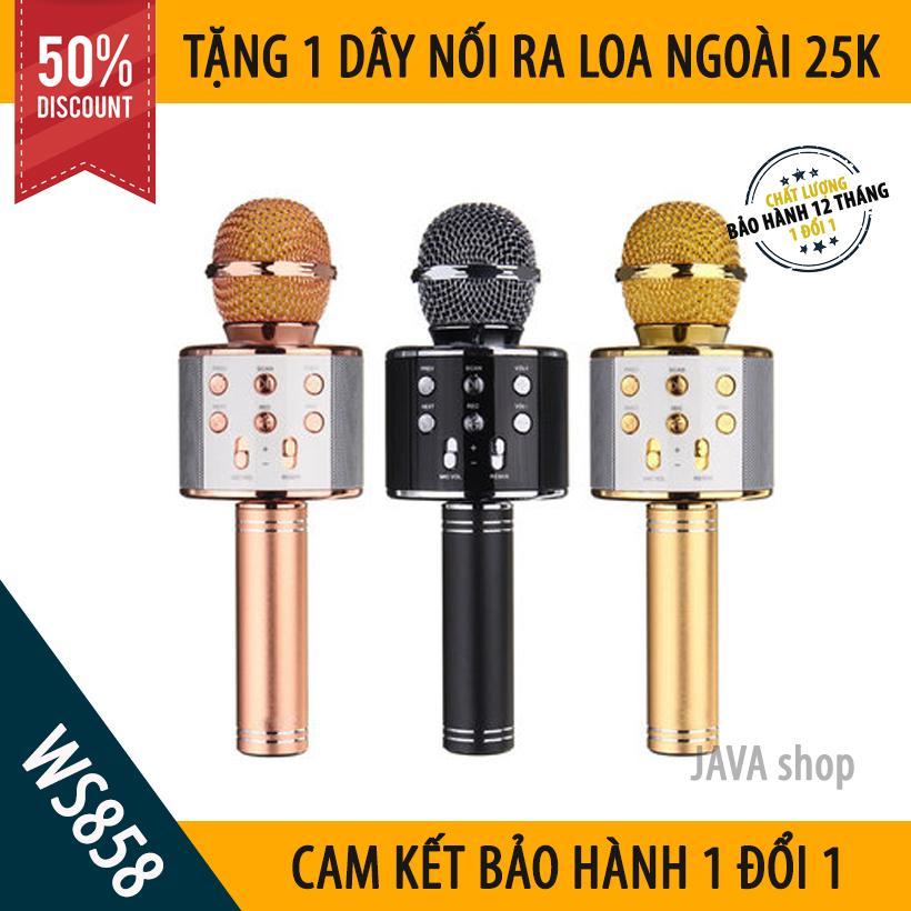 [XẢ HÀNG 3 NGÀY] Mic Hát Karaoke Bluetooth Không Dây WS858 - Kèm loa- Âm vang - Ấm - Tặng 1 dây nối ra loa ngoài 25K - mic hát karaoke cầm tay mini - micro hát trên xe hơi - mic hát karaoke hay nhất hiện nay