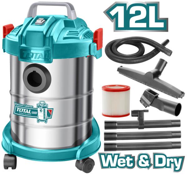 [HCM]Máy hút bụi 12 Lít 800W Total TVC14122 ( hút khô & ướt )