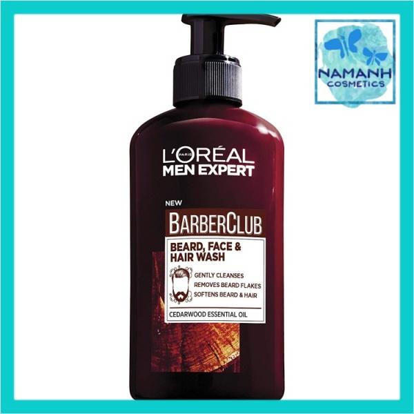 Gel 3 in 1 làm sạch râu, mặt và tóc LOreal Men Expert BarberClub Beard, Face & Hair wash cedarwood Essential Oil giá rẻ