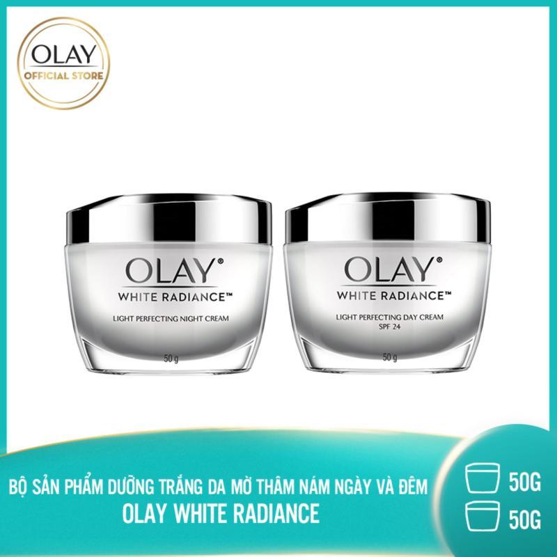 Bộ 2 sản phẩm dưỡng trắng da ngày và đêm Olay White Radiance Light Perfecting giá rẻ