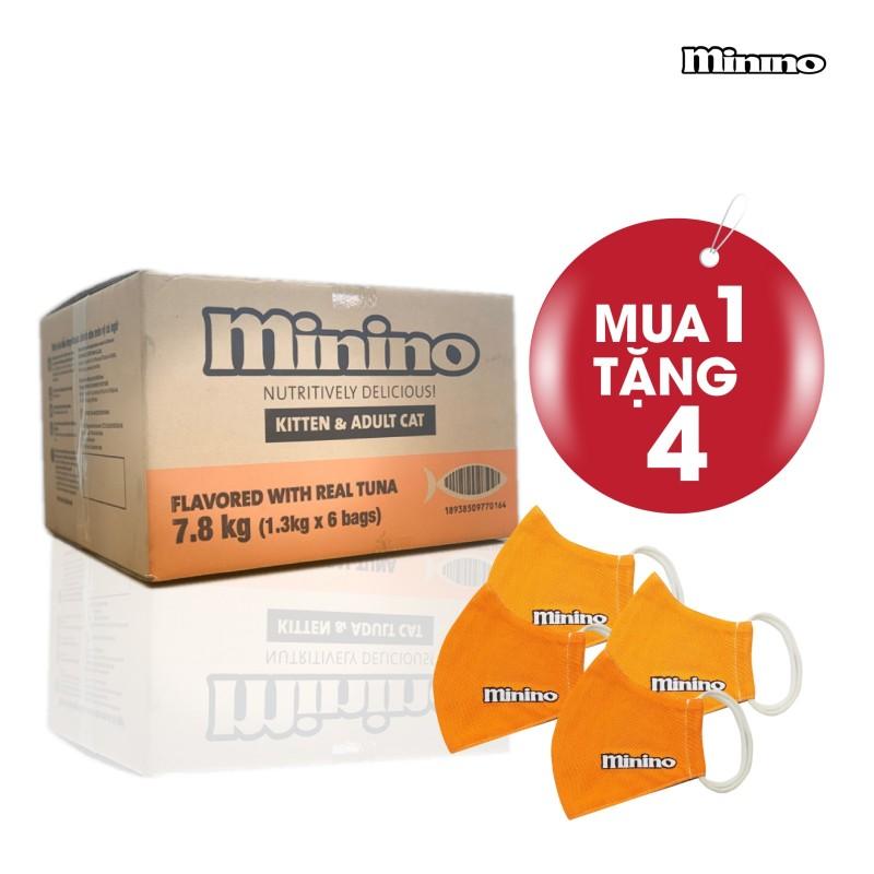Thức ăn cho mèo vị cá ngừ Minino Tuna Flavored thùng 7,8kg (6 túi - 1,3kg)