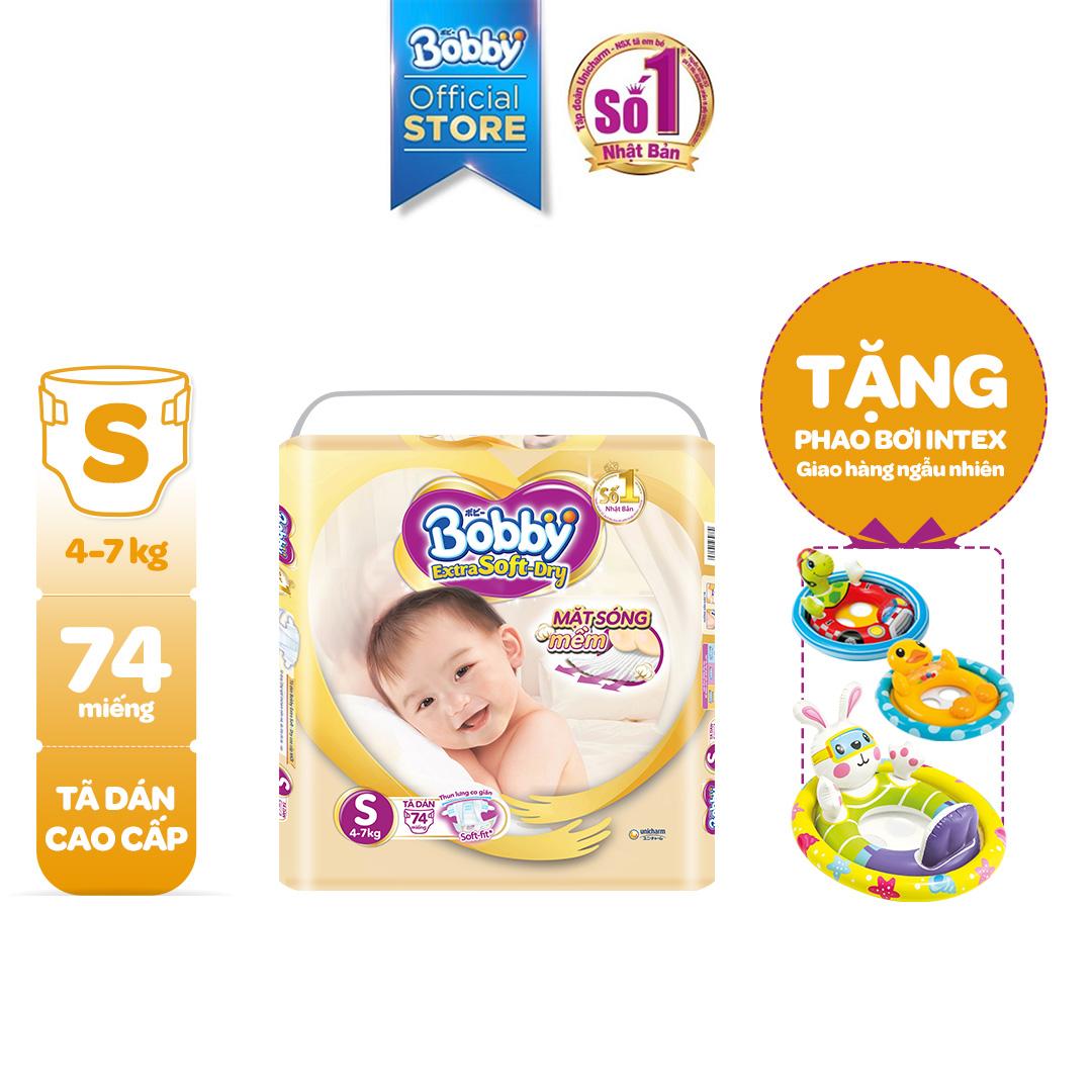 [TẶNG PHAO BƠI HÌNH THÚ INTEX] Tã/bỉm Dán Cao Cấp Siêu Mềm Bobby Extra Soft Dry S74 (4-7kg) Giá Siêu Rẻ