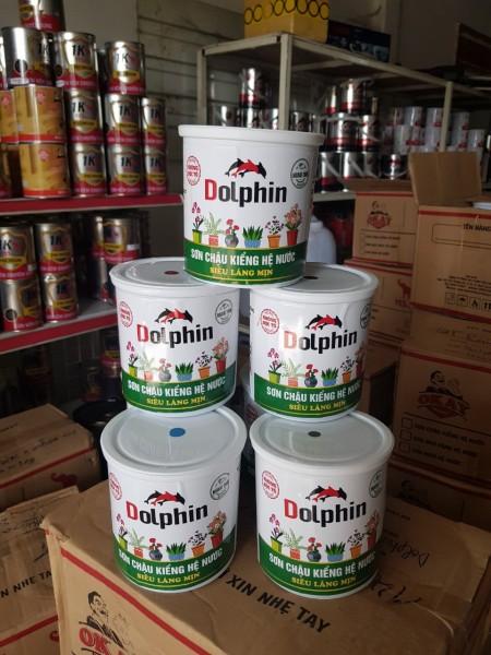 Sơn chậu kiểng láng mịn hệ nước DOLPHIN (Lon 1kg) - Tặng kèm cọ