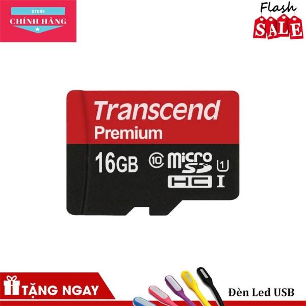 Thẻ nhớ microSDHC Transcend 16GB Premium tốc độ upto 90MB/s (Đỏ) - Bảo Hành 3 Năm