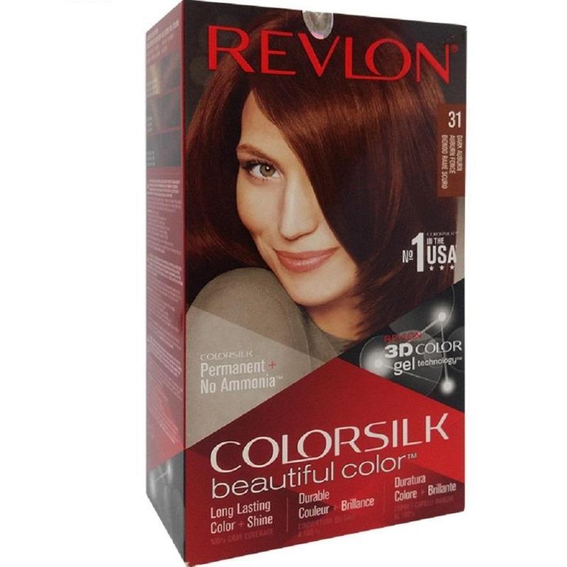 Nhuộm tóc Revlon ColorSilk 3D # 31 Nâu Đỏ Sậm  Dark Auburn (tặng 01 nón trùm tóc) cao cấp
