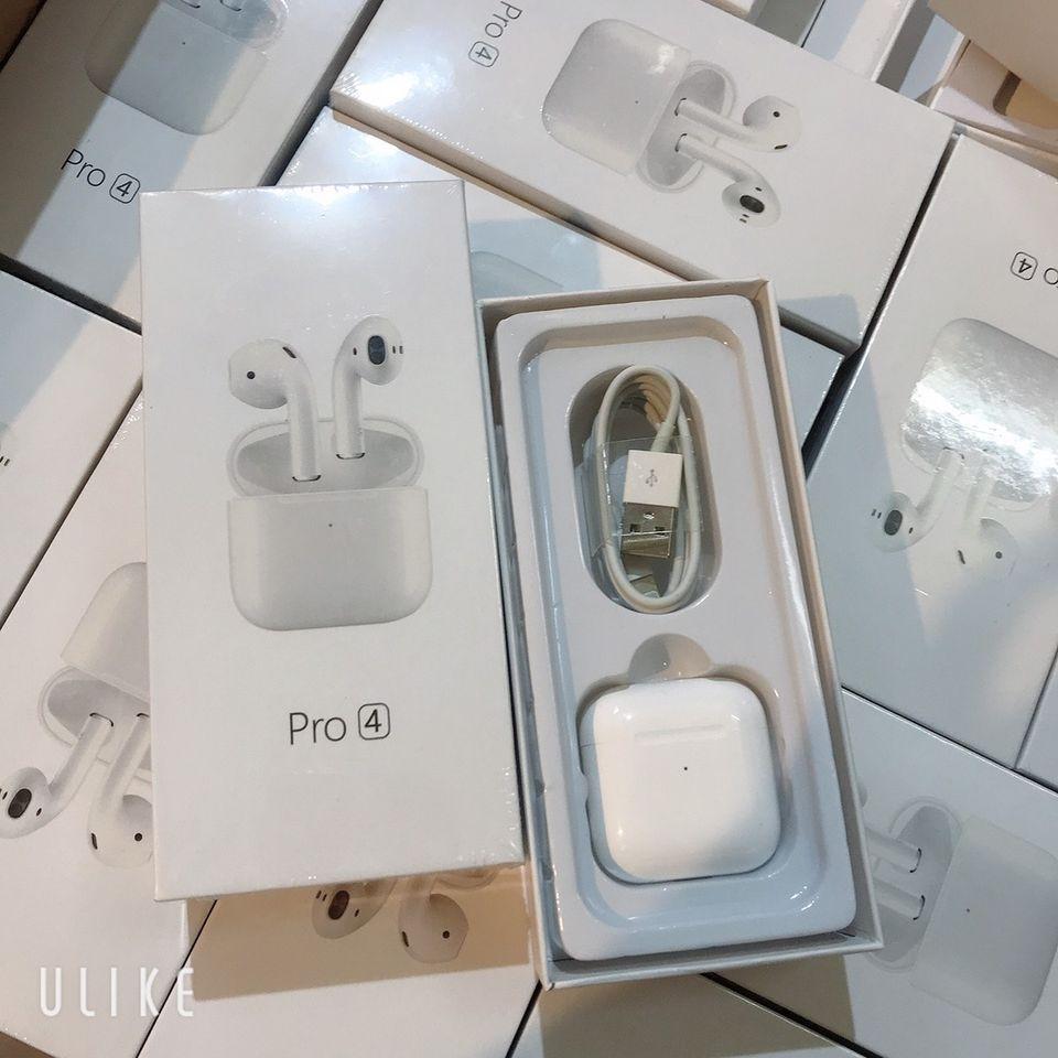 Tai nghe Bluetooth không dây Airpods Pro 4 tích hợp tất cả điện thoại, tai nghe nhét tai, kiểu dáng thể thao, mini airpods với phiên bản bluetooth 5.0h 5.0, cảm biến vân tay.